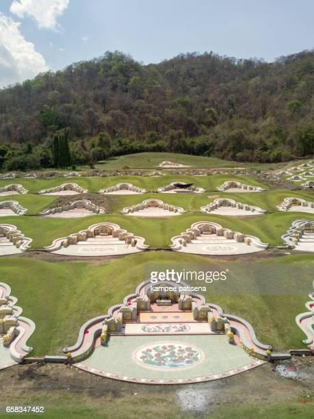 Aerial view of Chinese graveyard arrange in Baanbung, Chonburi, Thailand