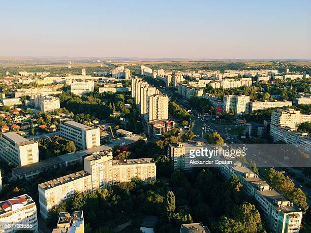 aerial view of chisinau, moldova - chisinau stock pictures, royalty-free photos & images