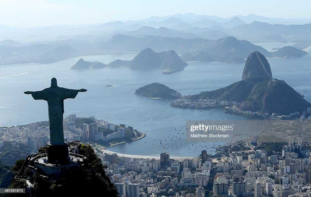 Aerial view of Christ the Redeemer, Flamengo Beach, the Sugar Loaf and Guanabara Bay with nearly one year to go to the Rio 2016 Olympic Games on July 21, 2015 in Rio de Janeiro, Brazil.