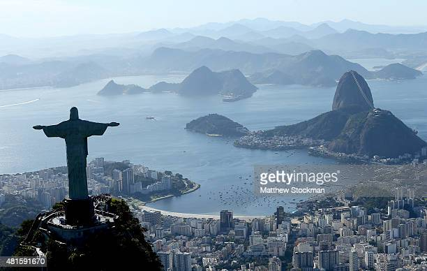 Aerial view of Christ the Redeemer, Flamengo Beach, the Sugar Loaf and Guanabara Bay with nearly one year to go to the Rio 2016 Olympic Games on July...