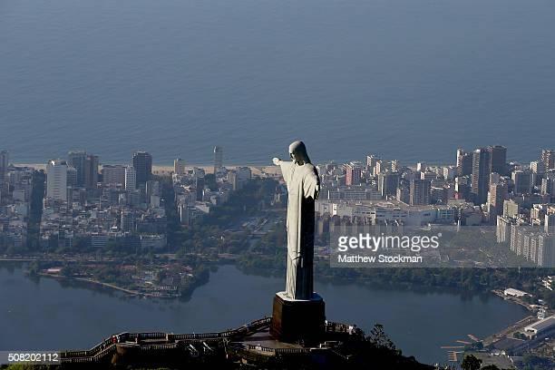 Aerial view of Christ the Redeemer Lagoa Rodrigo de Freitas and Ipanema Beach on February 2 2016 in Rio de Janeiro Brazil