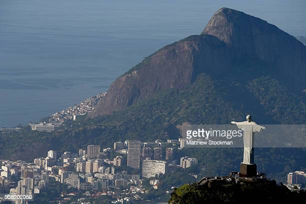 Aerial view of Christ the Redeemer on February 2 2016 in Rio de Janeiro Brazil