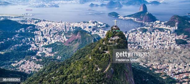 aerial view of christ the redeemer, rio de janeiro, brazil. - rio de janeiro imagens e fotografias de stock