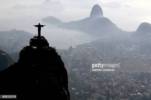 Aerial view of Christ the Redeemer the Sugar Loaf and Guanabara Bay with six months to go to the Rio 2016 Olympic Games on February 2 2016 in Rio de...