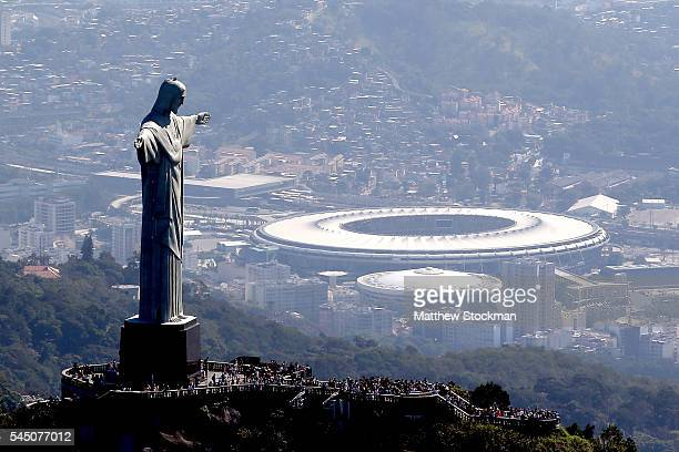 Aerial view of Christ the Redeemer with Maracana Stadium in the background in preparation for the 2016 Olympic Games on July 4 2016 in Rio de Janeiro...