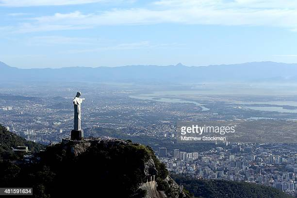 Aerial view of Christ the Redeemer with nearly one year to go to the Rio 2016 Olympic Games on July 21 2015 in Rio de Janeiro Brazil