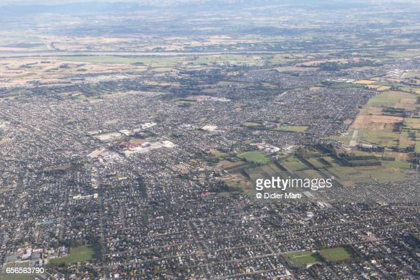 aerial view of christchurch city in new zealand - christchurch stock pictures, royalty-free photos & images