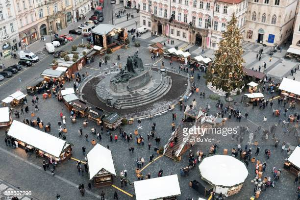 Aerial View of Christmas Market in Prague