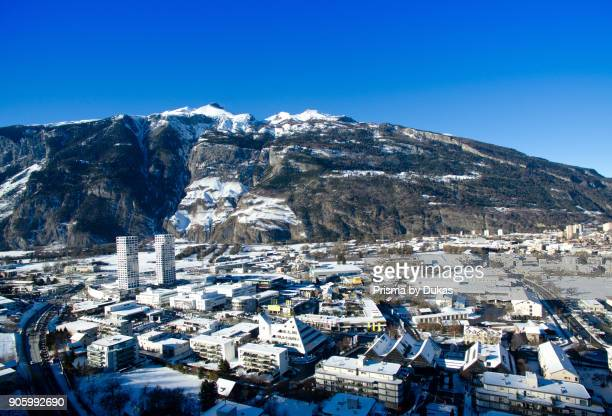 Aerial view of Chur city in winter