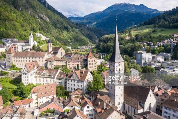 aerial view of chur old town, in graubünden canton in switzerland - zwitserland stockfoto's en -beelden