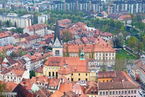 Aerial view of Church of St. James in Ljubljana