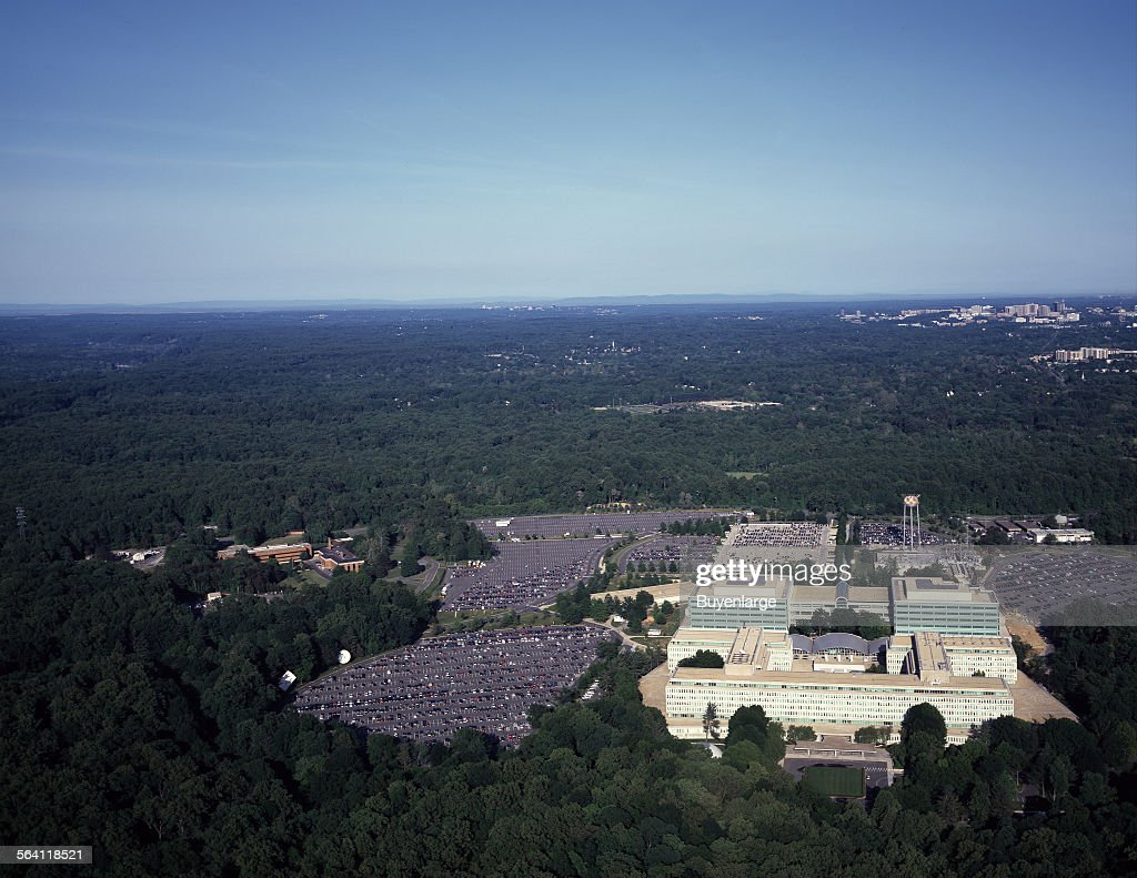 Aerial view of CIA headquarters, Langley, Virginia : News Photo