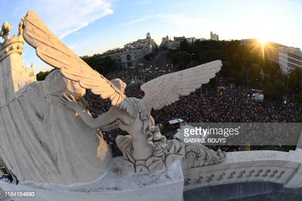 Aerial view of Cibeles square taken during the the annual Pride parade in Madrid on July 6 2019