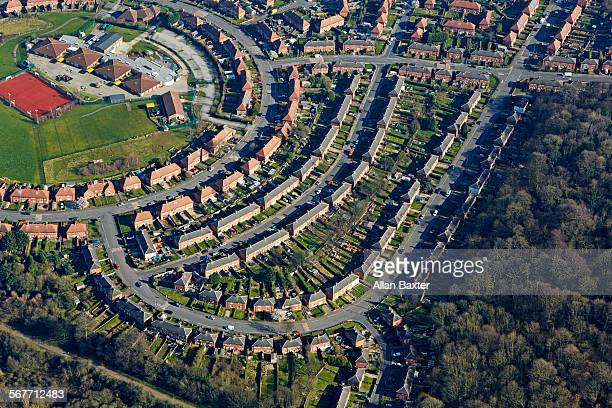 aerial view of cinderhill in nottingham - nottingham stock pictures, royalty-free photos & images