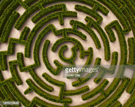 aerial view  circular hedge maze stock photo getty images