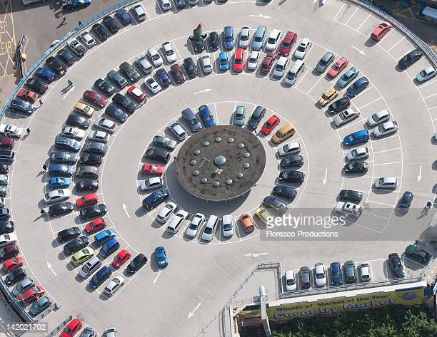 Aerial view of circular parking lot