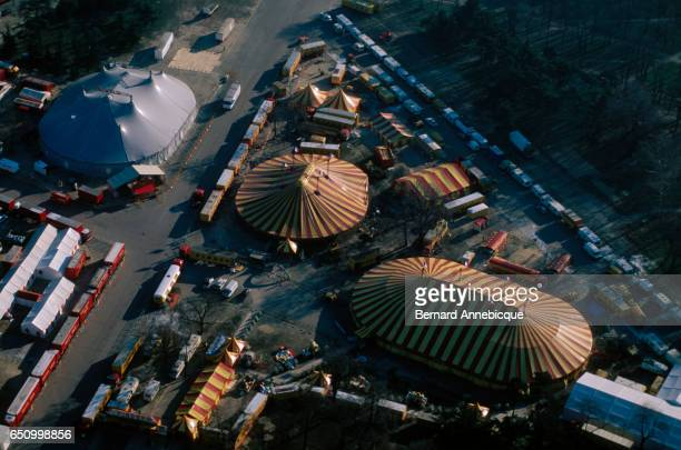 Aerial view of circus tents during performances by the Gruss Circus Pinder Circus and Circus Pauwels near Bois de Vincennes in Paris