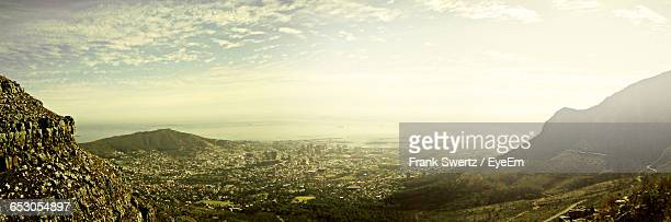 aerial view of city against sky - frank swertz stock pictures, royalty-free photos & images