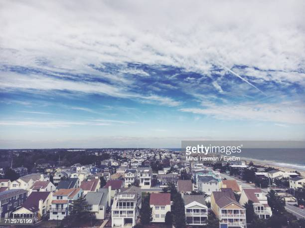aerial view of city against sky - bethany beach stock photos and pictures