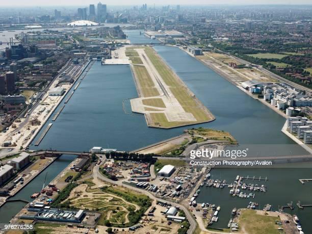 Aerial view of City Airport London UK