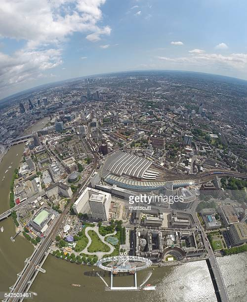 Aerial view of city and river Thames, London, England, UK