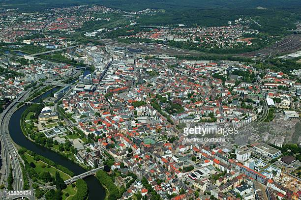 Aerial view of city and Saar River.