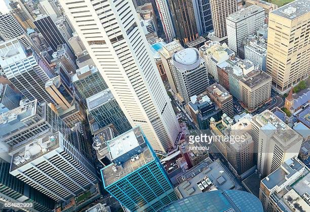 Aerial view of city architecture, Sydney, New South Wales, Australia