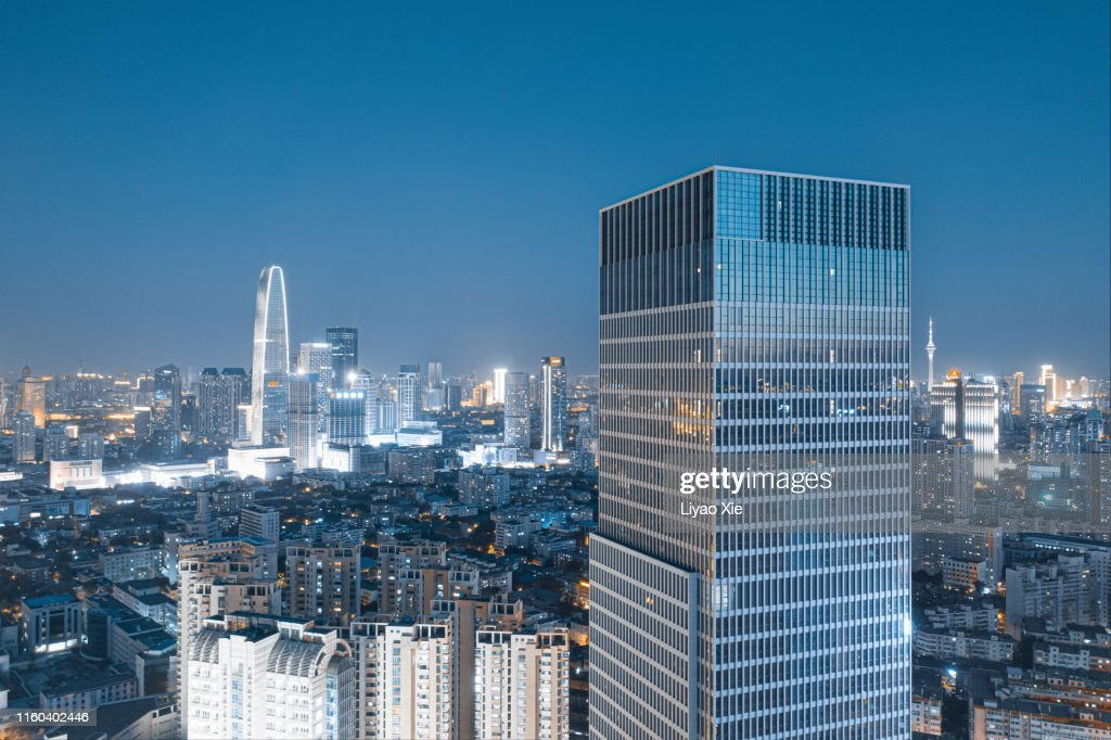 Aerial view of city at night : Stock Photo