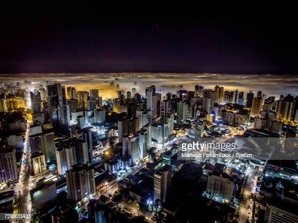 aerial view of city at night - curitiba stock pictures, royalty-free photos & images