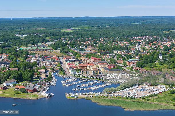 aerial view of city at sea - dalsland stock photos and pictures