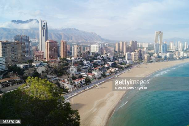 aerial view of city at seaside - valencia spanien stock-fotos und bilder