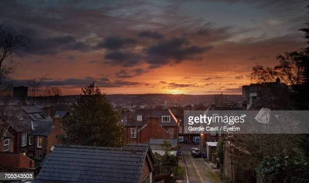 aerial view of city at sunset - sheffield stock pictures, royalty-free photos & images