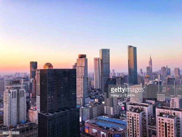 aerial view of city at sunset - 南京市 ストックフォトと画像