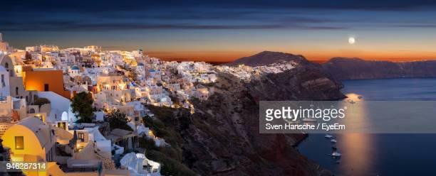 aerial view of city at sunset - cyclades islands stock pictures, royalty-free photos & images