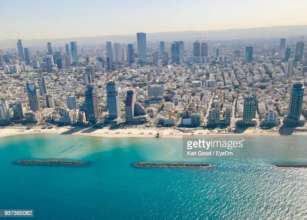 aerial view of city at waterfront - tel aviv foto e immagini stock