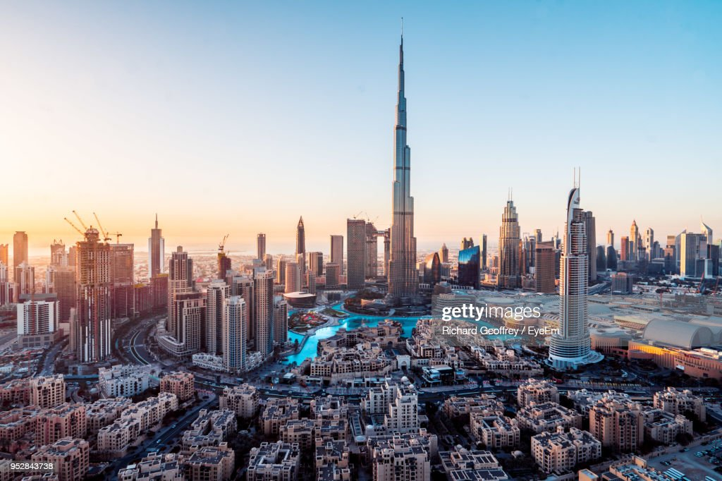 Aerial View Of City Buildings During Sunset : Stock Photo