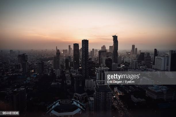 aerial view of city buildings during sunset - stuttgart stock pictures, royalty-free photos & images