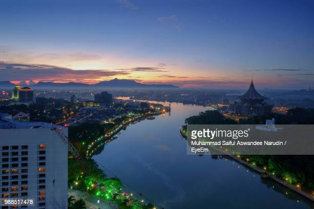 aerial view of city buildings during sunset - sarawak state stock pictures, royalty-free photos & images