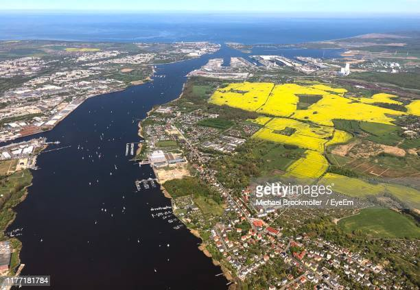 aerial view of city buildings - rostock stock pictures, royalty-free photos & images