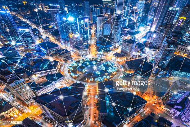 aerial view of city communication in dalian - big data city stock pictures, royalty-free photos & images