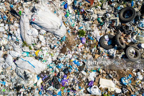 aerial view of city dump or landfill.  pollution concept, top view. - plastic pollution stock pictures, royalty-free photos & images