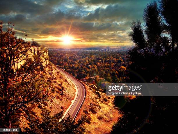 aerial view of city during sunset - billings montana stock pictures, royalty-free photos & images