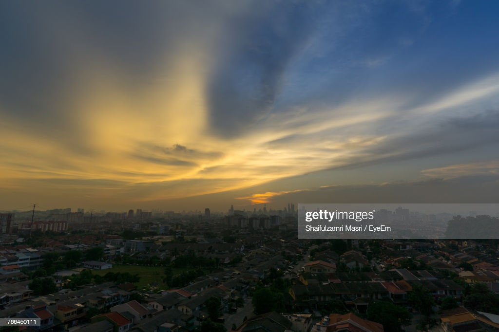 Aerial View Of City During Sunset : Stock Photo