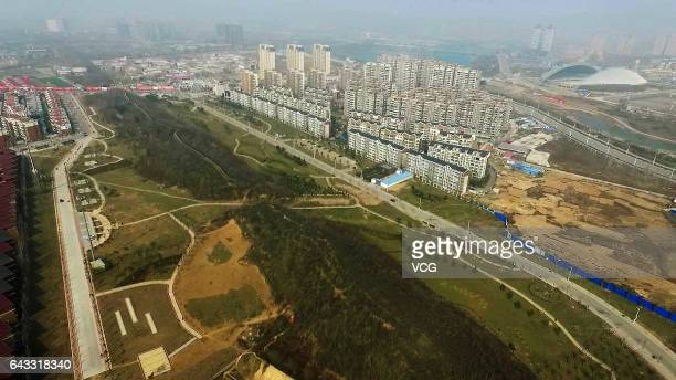 Aerial view of city gate and barbican-like Wencheng , which were found by archaeologists when investigating Zheng Han old city on February 19, 2017...