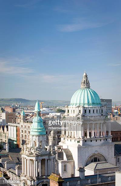 aerial view of city hall, belfast - belfast stock pictures, royalty-free photos & images