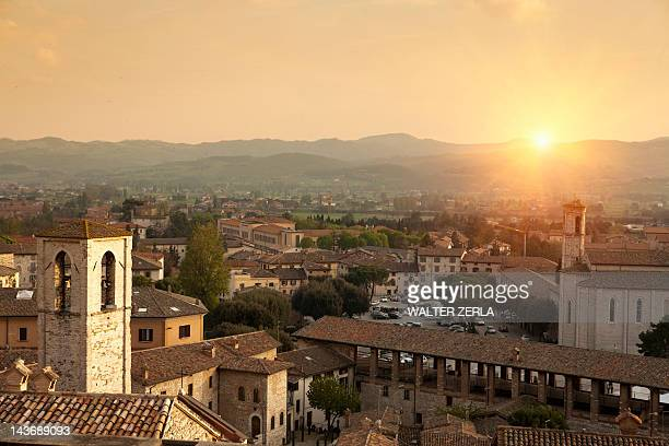 aerial view of city in rural landscape - gubbio stock pictures, royalty-free photos & images
