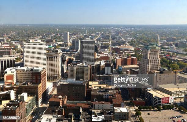 Aerial view of city landscape, Cleveland, Ohio, USA