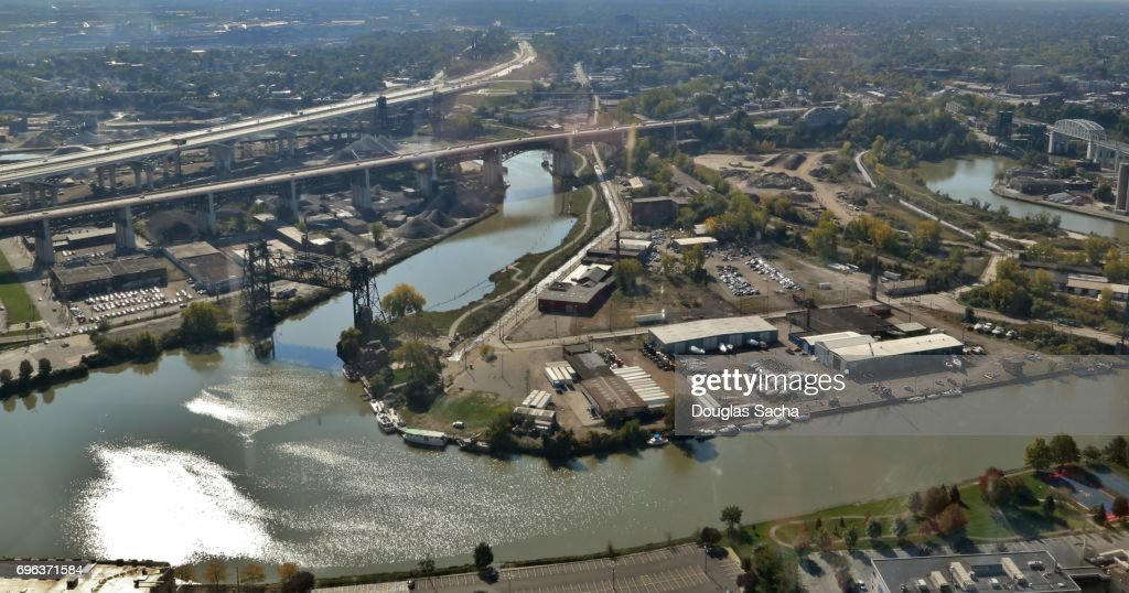 Aerial view of city landscape, Cleveland, Ohio, USA : Stock-Foto