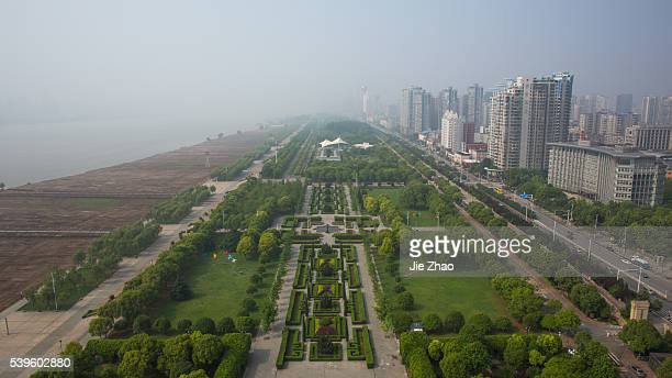 Aerial view of city landscape in Wuhan the capital city of Hubei province central China 5th May 2015Bankand of Yangtze River