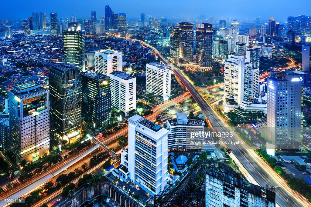 Aerial View Of City Lit Up At Night : Stock Photo